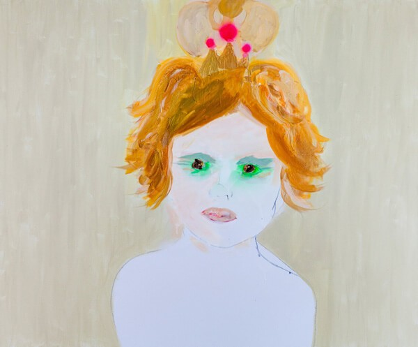 1429_Alona Harpaz, Alma with Crown, 2014, Acrylic, spray and industrial paint on canvas, 100x120 cm-600x497