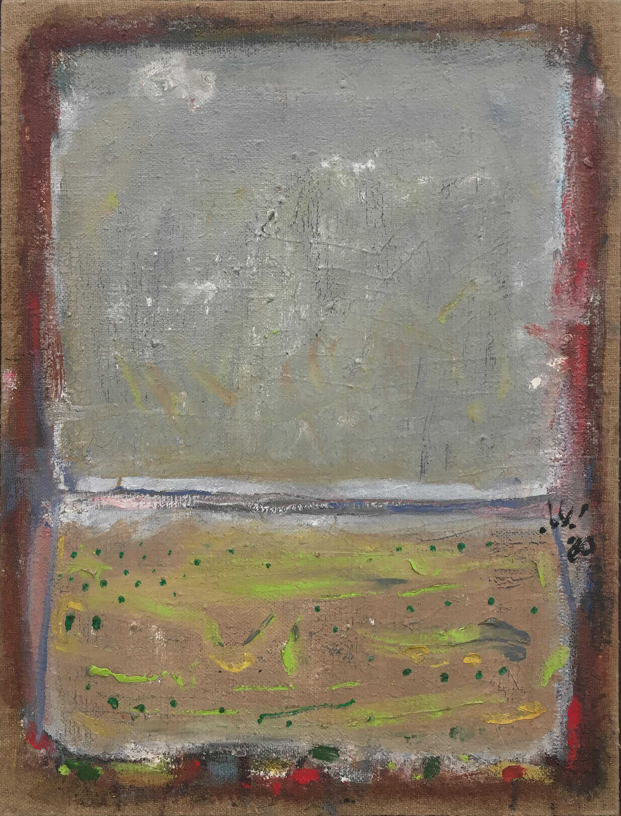 1476_Yehezkel Streichman, 1980, Mixed media on burlap, 80x59 cm 9,500$-1234x1621