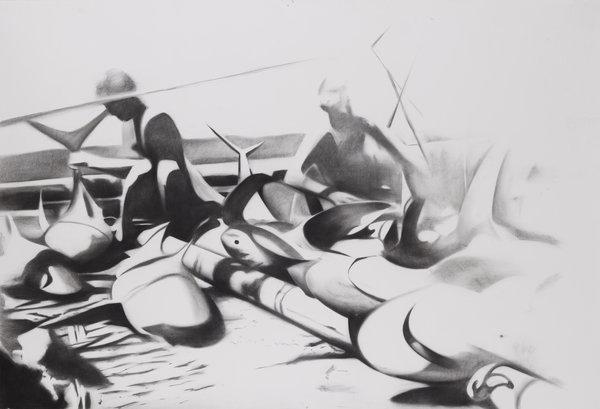 1264_Hillel Roman, Raft, 2015, Charcoal on paper, 160x240 cm-600x409