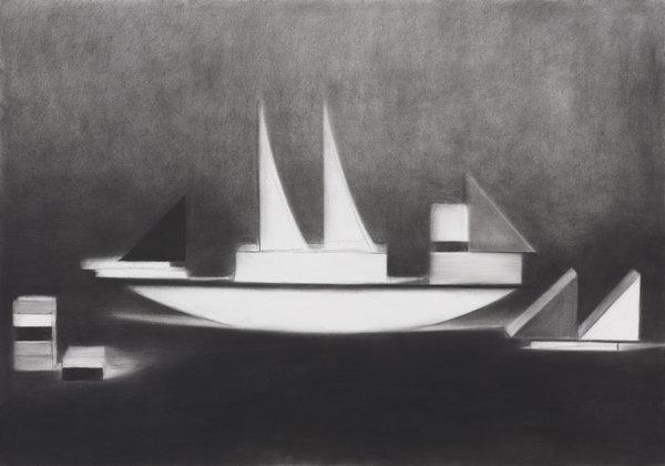 1266_Hillel Roman, Sailing, 2014, Charcoal on paper, 100x70 cm-600x420