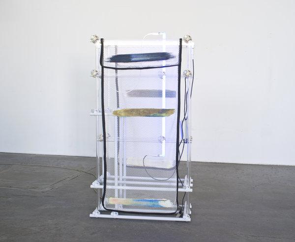 Darren Goins, Homestead Sea, 2015, Glass, aluminum, nylon, polyester, urethane, silicone, neon, transformer, 151x81x43 cm-600x493