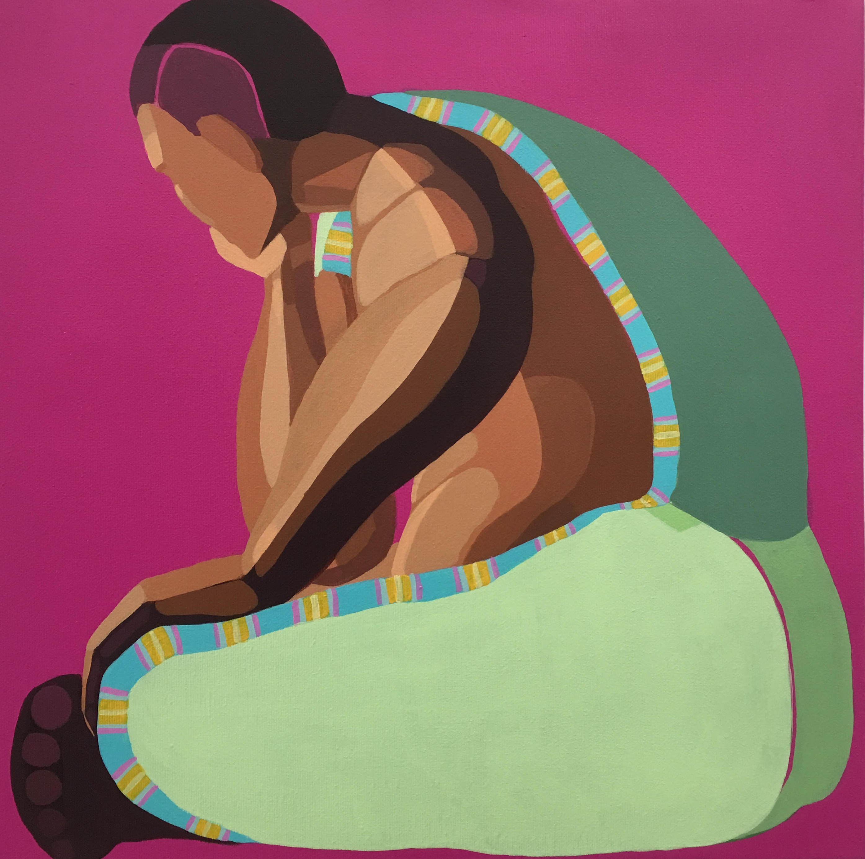 Nirit Takele,Sitting figure,2019,40x40 cm,$2,400