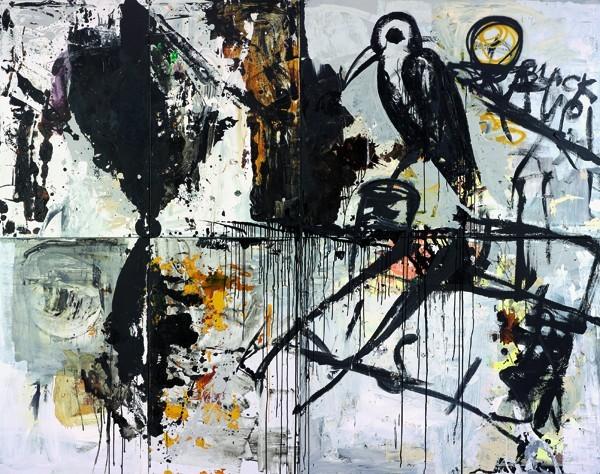 Tsibi Geva, Black Raven, 2014, Oil and acrylic on canvas, 300x380 cm-600x474