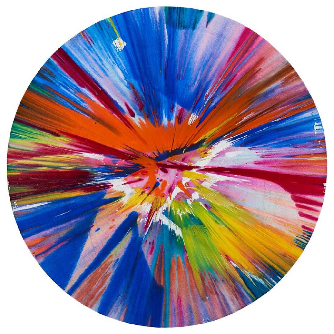 Damien Hirst, Circle Spin Painting, Acrylic on paper, 52 diameter, 22,000$