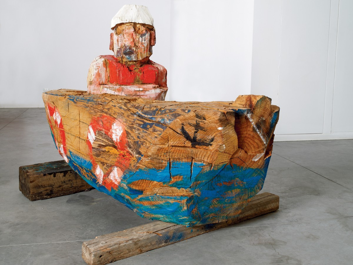 Amit Cabessa, Man in a Boat, 2011, Wood, H - 130 cm,