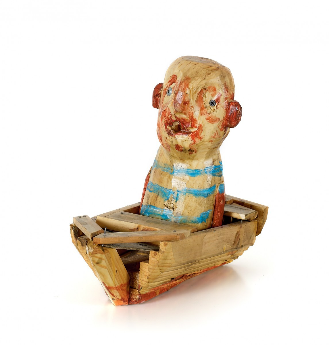 Amit Cabessa, Man in a Boat, 2011, Pinted wood, H-30 cm