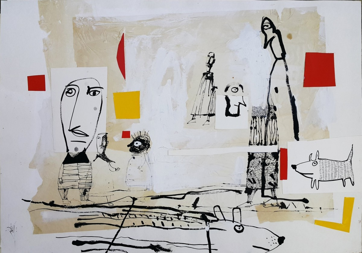 Leo Ray, In the Street, 2016, Mixed media on paper, 70x100 cm
