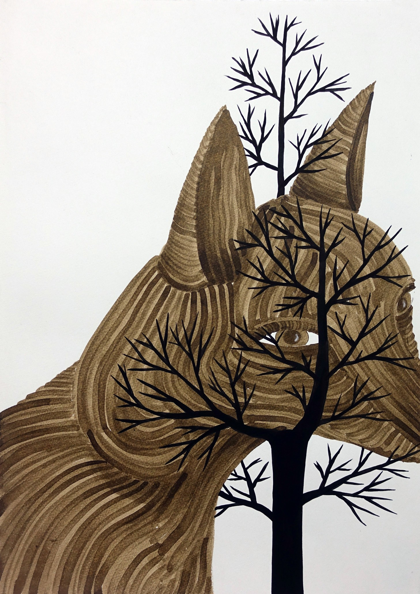 Klone, The Miseducation of (the Fox), 2015, Ink on paper, 70x50 cm