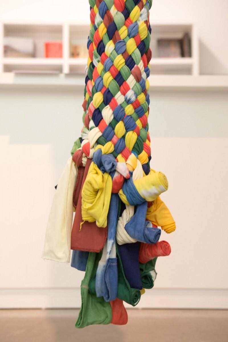 Sigalit Landau, Umbilical Chord, 2015, textile ribbons ,470cm (h)
