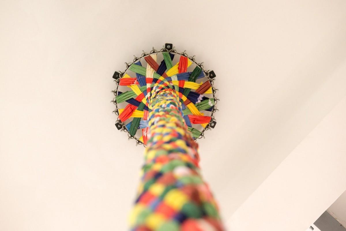 Sigalit Landau, Umbilical Chord, 2015, textile ribbons ,470cm (h) (4)