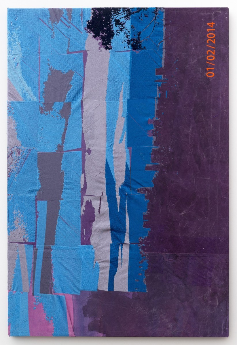 Brendan Fowler, from north (…), 2014, rayon, polyester, acrylic on canvas, aluminium stretchers, 152.5x101