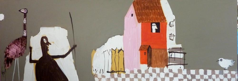 Leo Ray, Cafe Au Lait Oil on Canvas, 2013 80X240