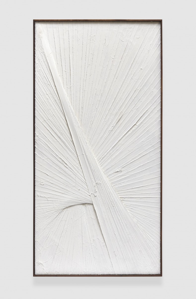Matthew Chambers, Formerly So Broad 2, 2014, acrylic, enamel based adhesive and nylon flocking on canvas with stained walnut artist's frame, 249x127 cm