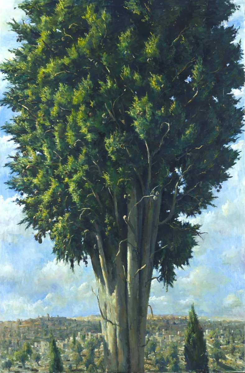 Ilan Baruch, Cypress in Landscape, Oil on canvas 240 x 150 cm, 16,500$