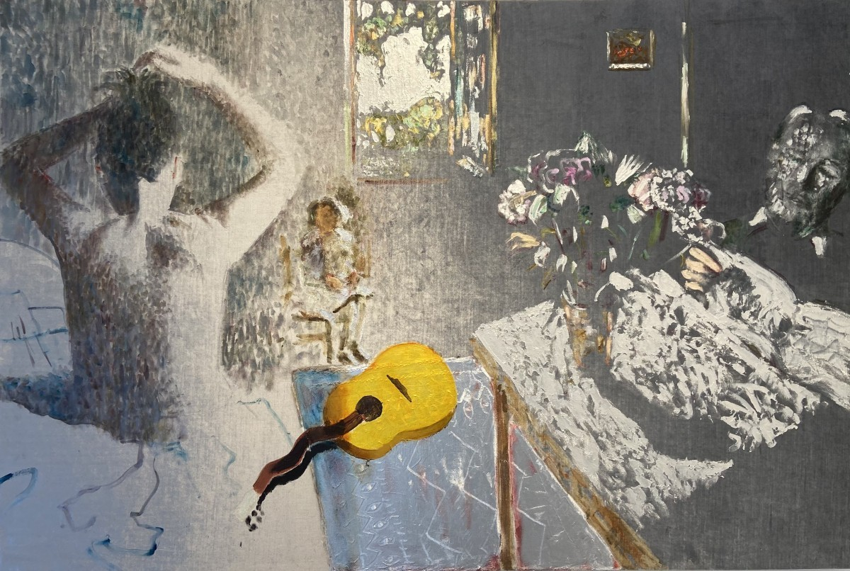 Ran Tenenbaum, 2020, Interference acrylic & oil on velvet, 180x120 cm 28,000 ILS
