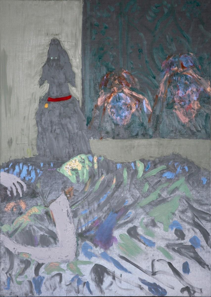 Ran Tenenbaum,, 2020, Interference acrylic & oil on velvet, 150x100 cm