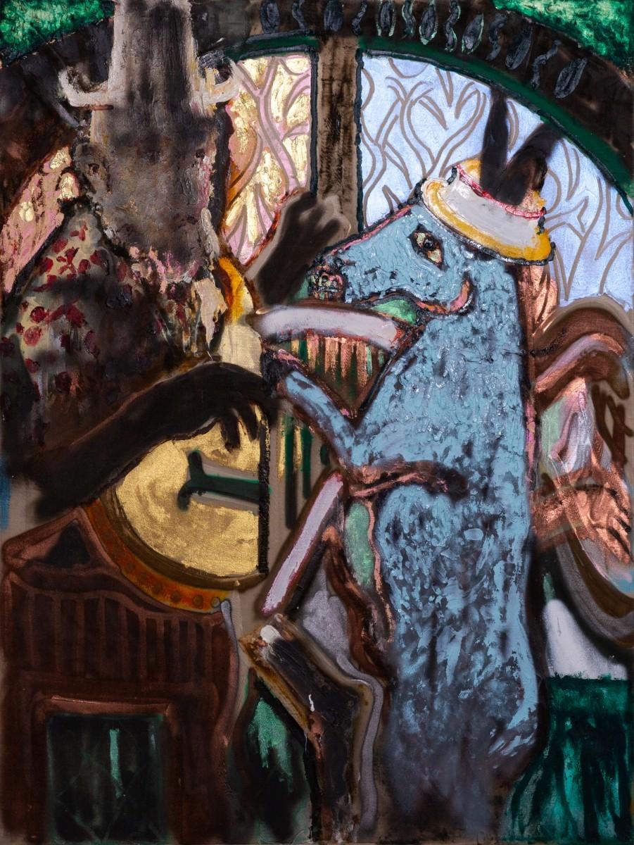 Ran Tenenbaum, Donkey, 2020, Interference acrylic & oil on velvet, 120x90 cm