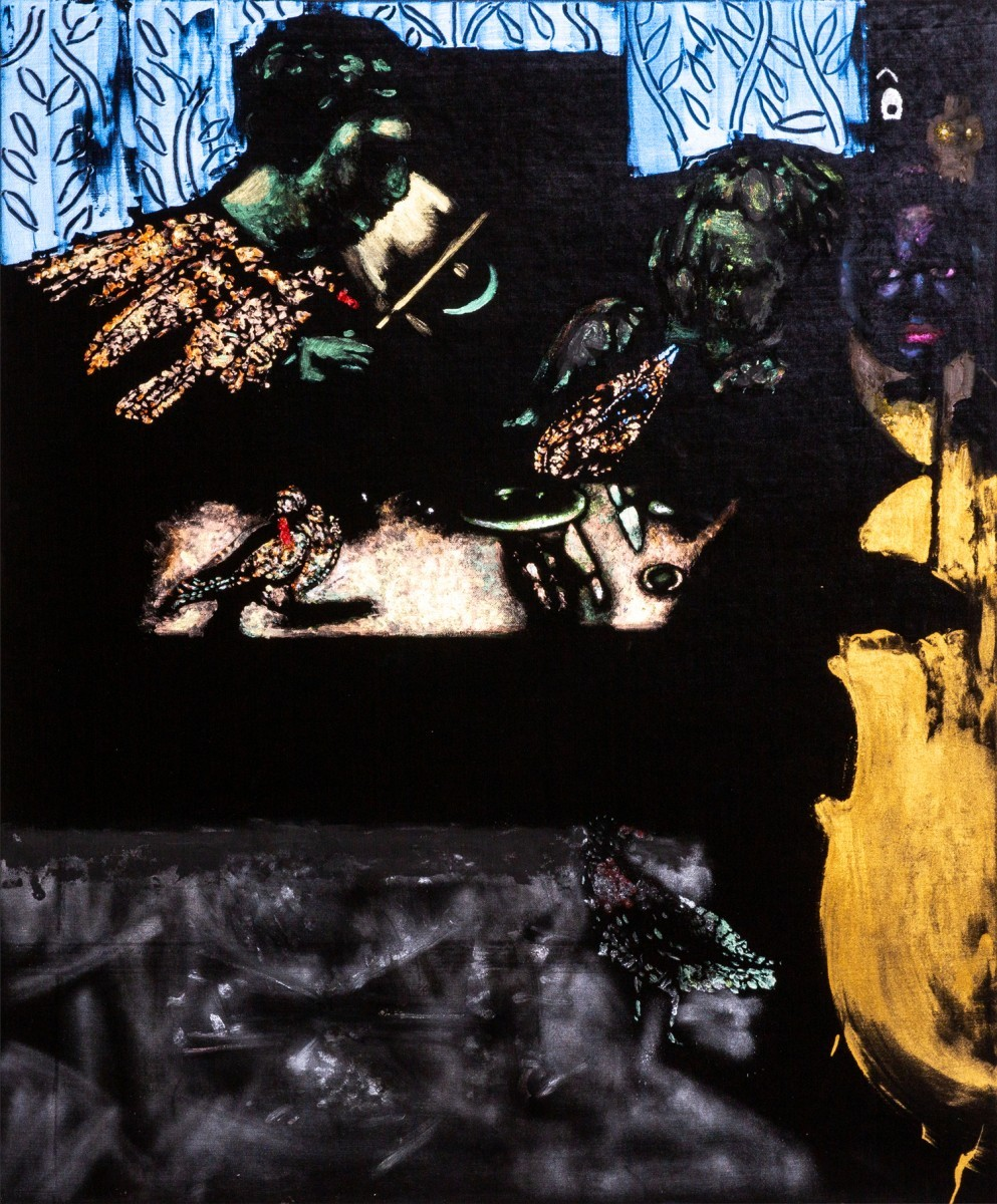 Ran Tenenbaum, Food for the Peegons, 2020, Interference acrylic & oil on velvet, 120x90 cm