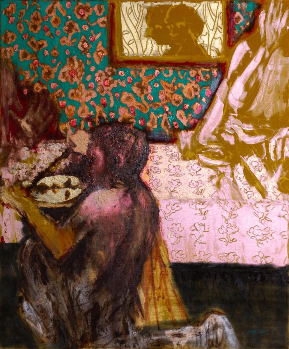 Ran Tenenbaum, Gift, 2020, Interference acrylic paint on velvet, 120x100 cm