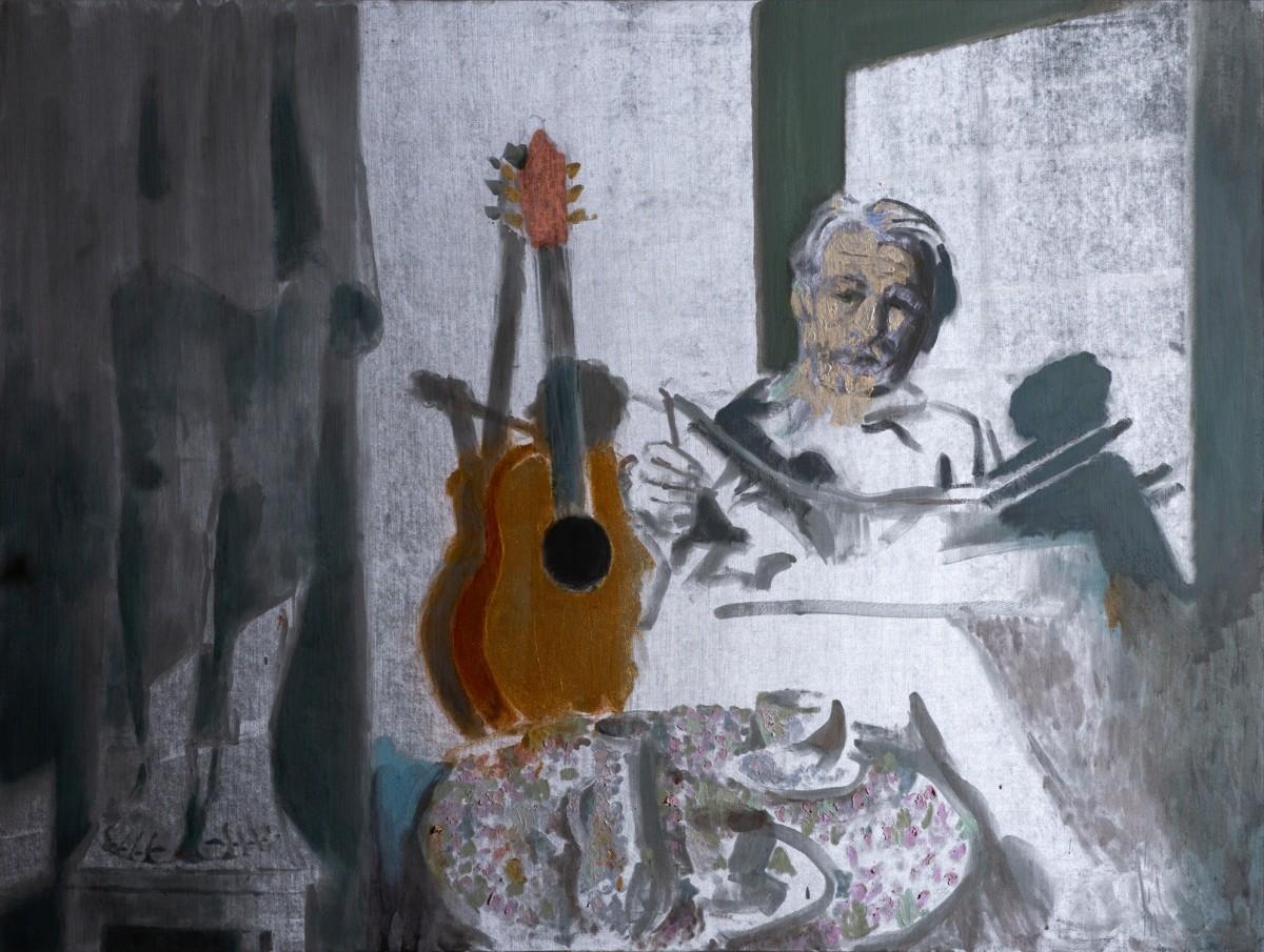 Ran Tenenbaum, Stool, 2020,Interference acrylic & oil on velvet, 120x160 cm- side