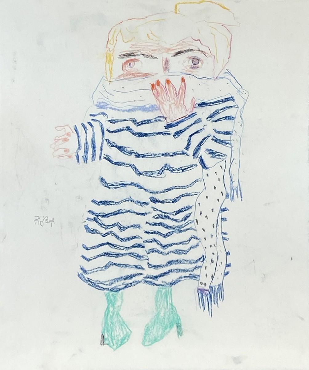 Amit Cabessa, 2020, Colored pencils on paper, 39