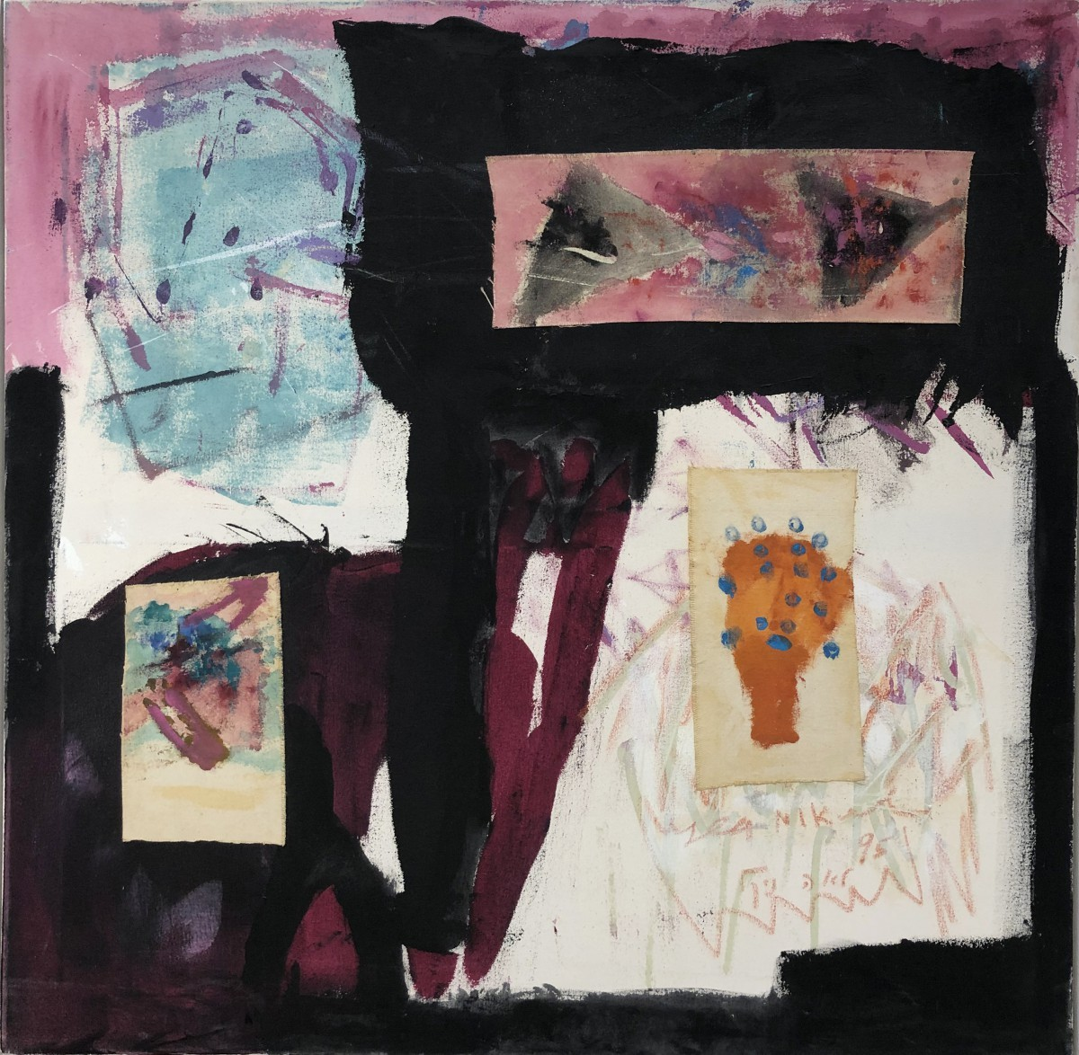 Lea Nikel, Untitled Acrylic and collage on canvas,1995,100x100 cm, $16,000