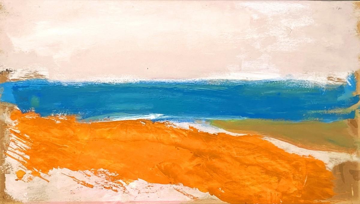 Ori Reisman, Seascape, early 1980's, Oil on cardboard 36.3 x 63