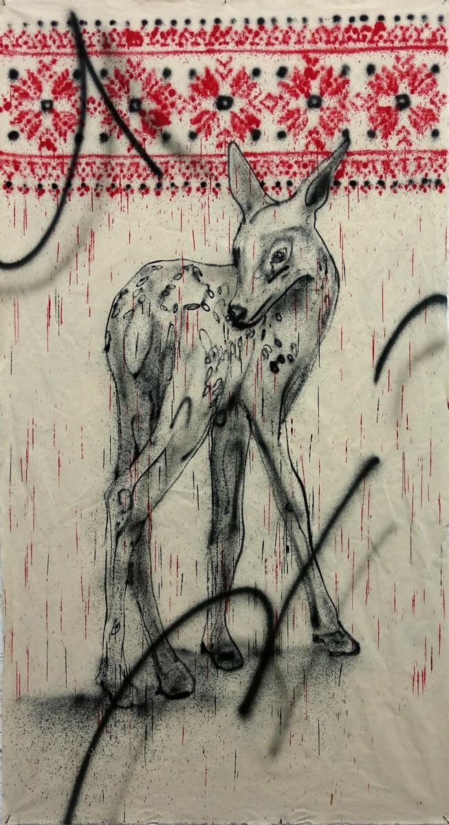 Klone, Memory of disbelief, Spraypaint on canvas, 184x100cm, 2021