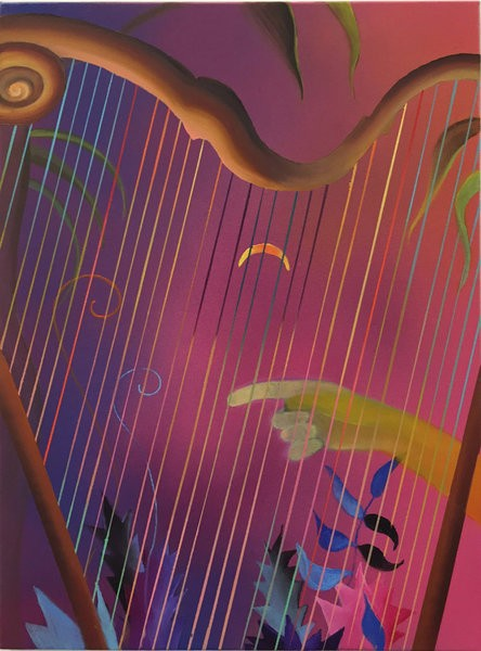 1335_Sharona Eliassaf, Untitled (Harp), 2016, Oil and spray on canvas, 70x50 cm-444x600
