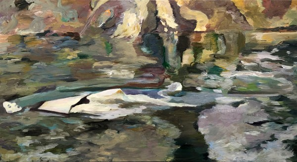 1398_Etay Kaminer, In the Yarkon, 2017, Acrylic on canvas, 125x229 cm-600x329
