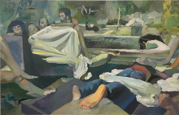 1404_7 Etay Kaminer, A fool on the balcony, 2017, Oil and acrylic on canvas, 107x165 cm-600x385