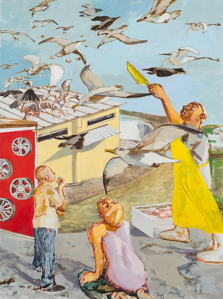 1419_Alma Itzhaky, Feeding the Birds, 2016, Oil on canvas, 210x160 cm-448x600
