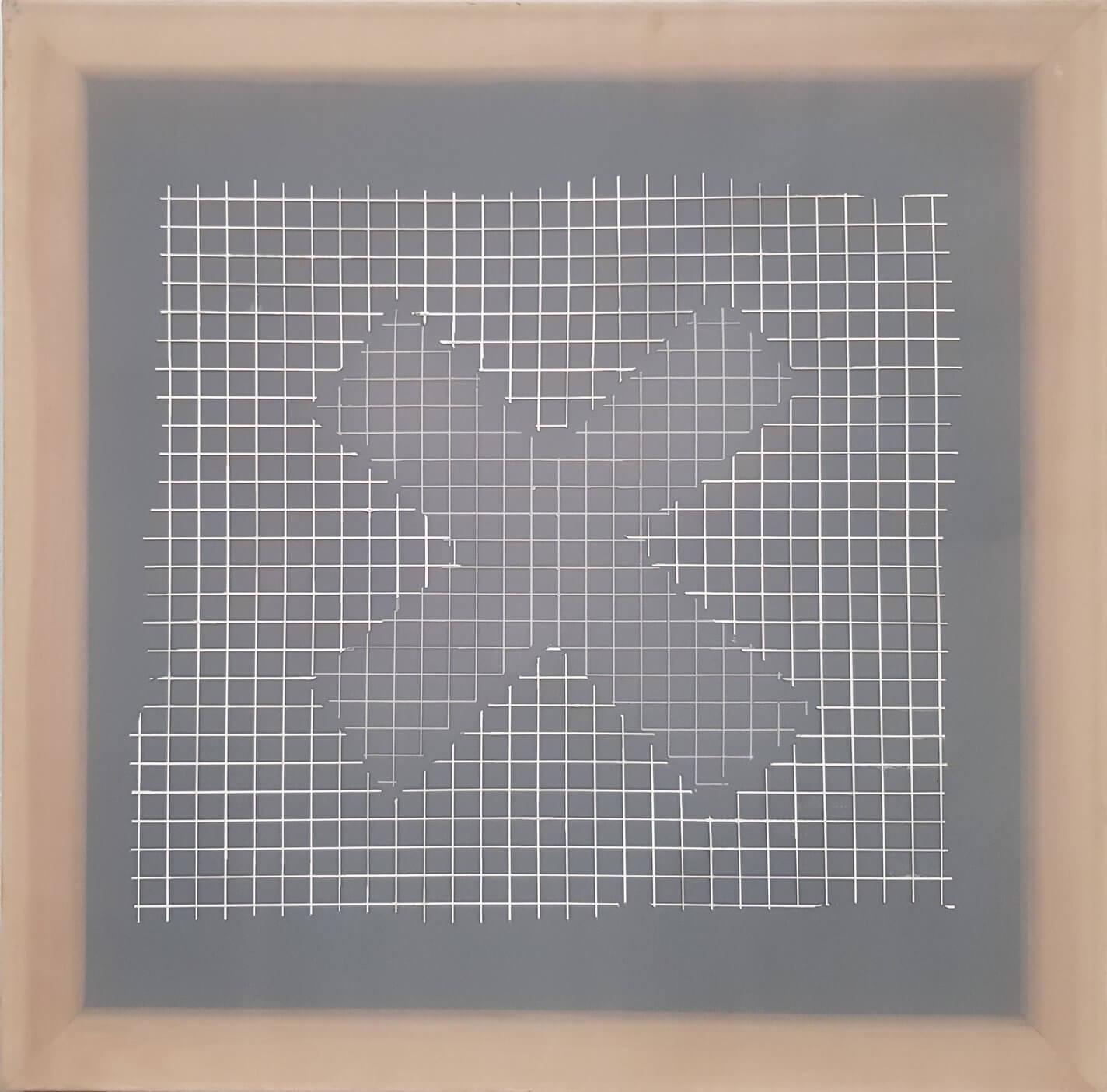 1575_Benni Efrat, Double Ex, 1973, Mixed media on canvas, 50x50 cm-1424x1405 (1)