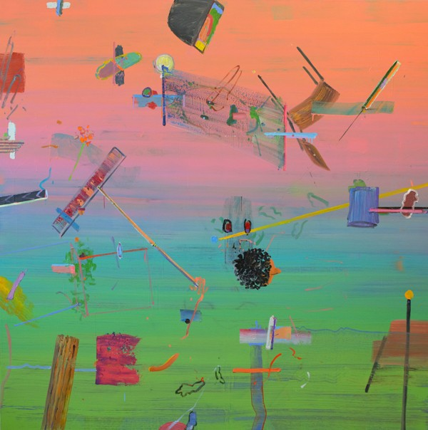 Alon Kedem, Green to Pink, 2019, Oil on canvas, 195x195 cm-600x604
