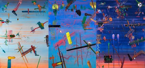 Alon Kedem, One day, 2019, Oil on canvas, 180x390 cm (3 parts)-600x282