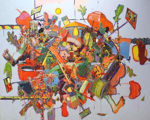 Alon Kedem, Selfi stick, 2019, Oil on canvas, 205x250 cm-600x480