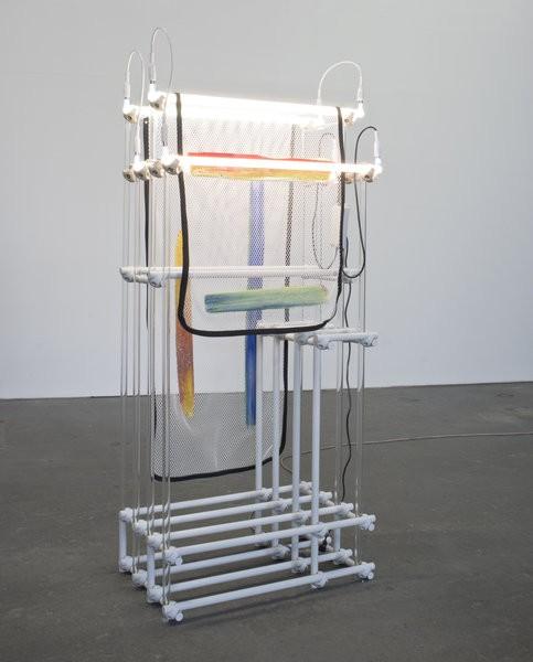 Darren Goins, Homestead Left, 2015, Glass, aluminum, nylon, polyester, urethane, silicone, neon, transformer, 192x81x49