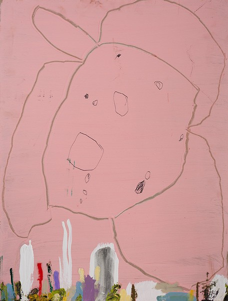 1103_30 Amit Cabessa, Pink Flower, 2014, oil and mixed media on MDF, 73x55 cm-456x600